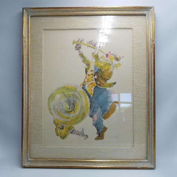 Vintage Other - Vintage Clown & Puppy Dog Framed Signed Wall Art